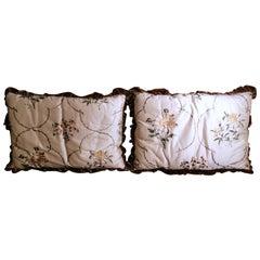 Pair of Pillows Italian Embroidered Silk and Velvet Back