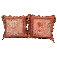 Pair of Pillows Made with 18th Century Aubusson Tapestry, Tassels and Trims