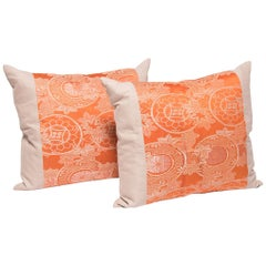 Pair of Pillows with Vintage Silk Obi Panels
