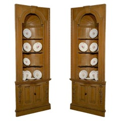 Pair of English Georgian 1770s Pine Corner Cabinets with Semi Quarter Vaults