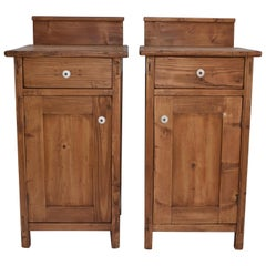 Pair of Pine Nightstands with Removable Splash Back
