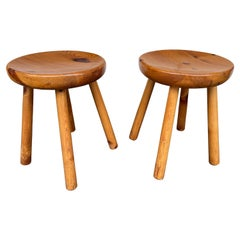 Pair of Pine Stool Attributed to Charlotte Perriand, France, 1960s