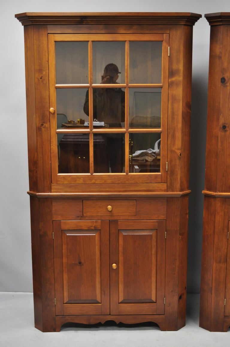 Pair Of Pine Wood Colonial Style Corner Cupboard China