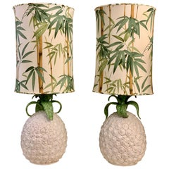 Pair of Pineapple Ceramic Table Lamps with Bamboo Fabric Lampshades, 1970s
