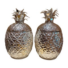 Pair of Pineapple Champagne Buckets, Silver Plate Wine Cooler Holders
