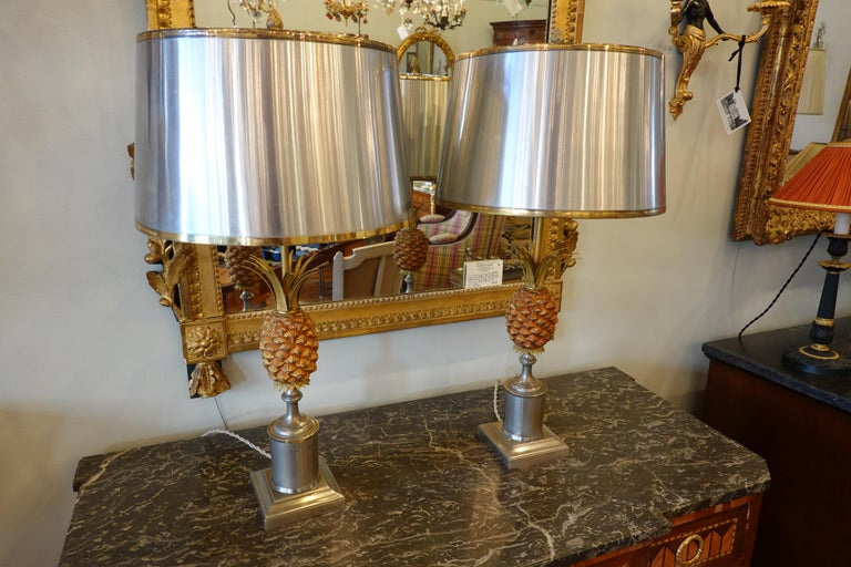 Pair of Pineapple Lamps with Metal Shades in the Style of Jansen or Charles For Sale 2