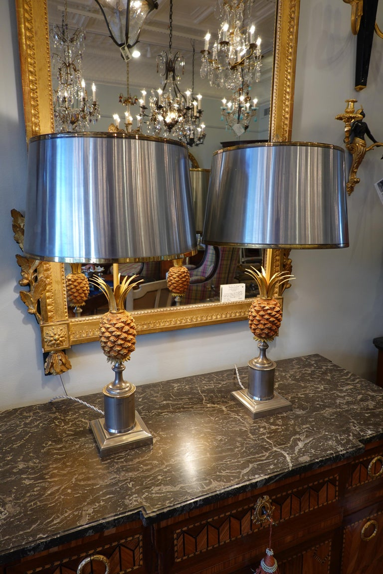 Brushed Pair of Pineapple Lamps with Metal Shades in the Style of Jansen or Charles For Sale