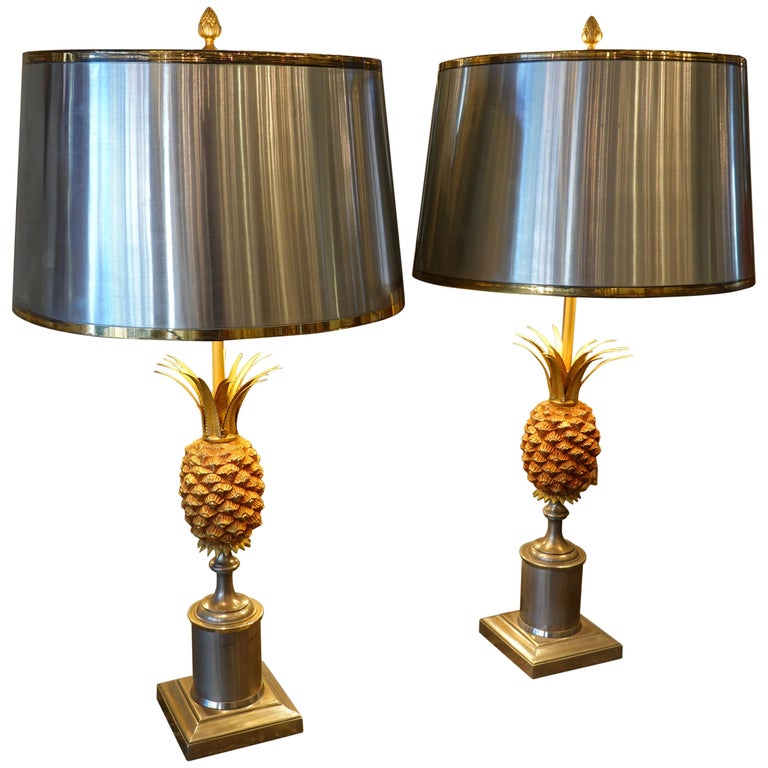 Pair of Pineapple Lamps with Metal Shades in the Style of Jansen or Charles For Sale