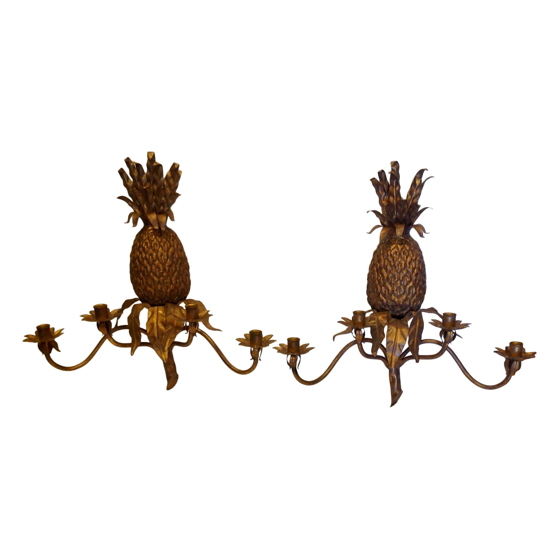 Pair of Pineapple Motif Sconces