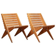 Pair of Pinewood Scissor Chairs