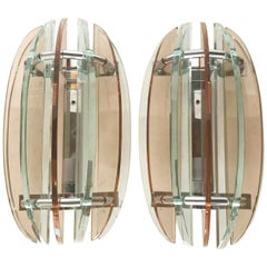 Pair of  Pink And Clear Glass Sconces by Veca