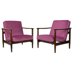 Pair of Pink Armchairs, Edmund Homa, GFM-142, 1960s, Poland