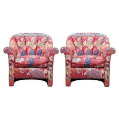 Pair of Pink Chanel Back Postmodern Chairs by John Masheroni Swaim Originals