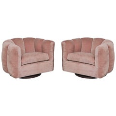 Pair of Pink Channel Back Swivel Club / Lounge Chairs by Milo Baughman
