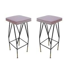 Pair of Pink Cotton Velvet Upholstery Stools