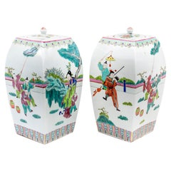 Pair of Pink Family Decorated Porcelain Covered Pots, Late 19th Century