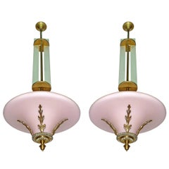 Pair of Pink French Art Deco Art Nouveau Bronze Opaline Glass Hanging Chandelier