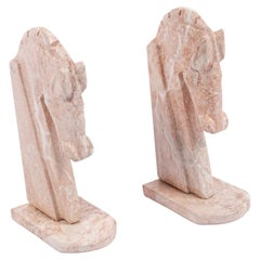 Pair of Pink Hardstone Midcentury Horse Bookends