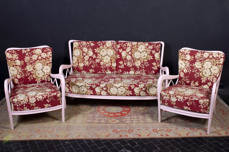 Pair of Pink Italian Armchairs and Sofa Paolo Buffa Style, 1950s For Sale 5