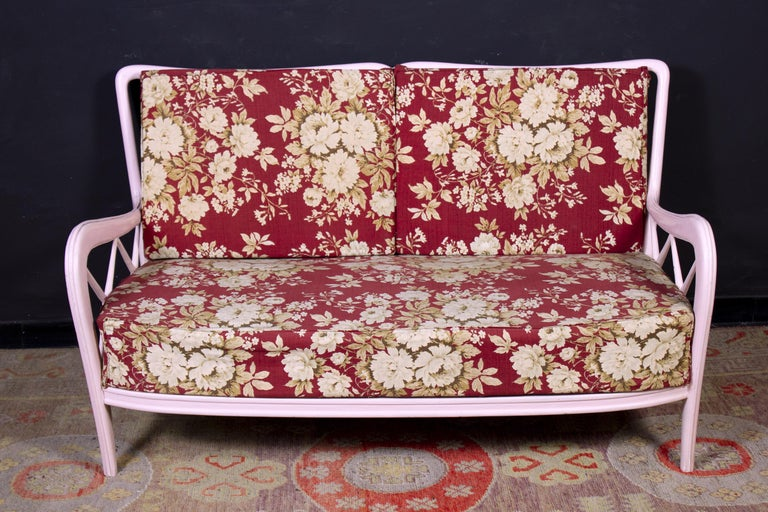 20th Century Pair of Pink Italian Armchairs and Sofa Paolo Buffa Style, 1950s For Sale