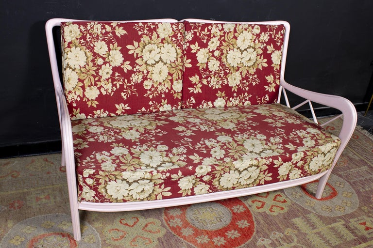 Pair of Pink Italian Armchairs and Sofa Paolo Buffa Style, 1950s For Sale 1
