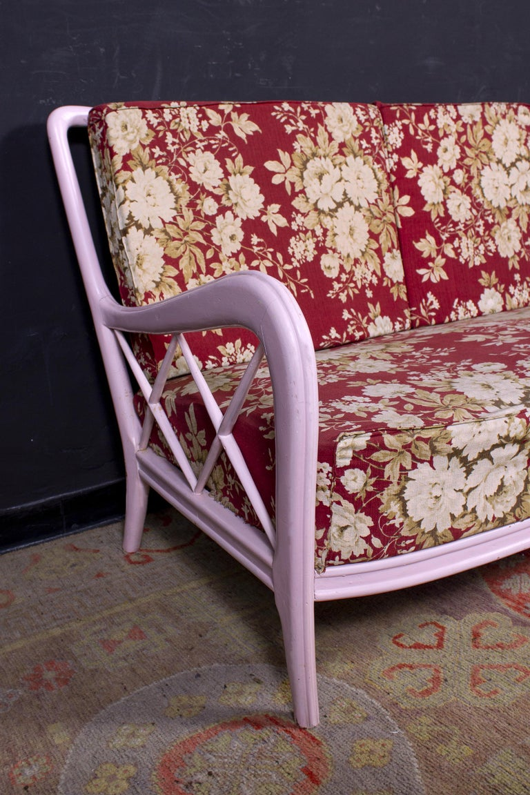 Pair of Pink Italian Armchairs and Sofa Paolo Buffa Style, 1950s For Sale 2