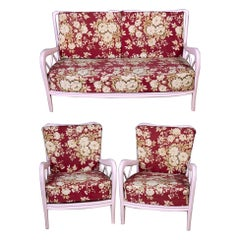 Pair of Pink Italian Armchairs and Sofa Paolo Buffa Style, 1950s