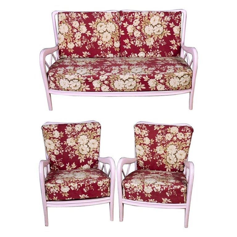 Pair of Pink Italian Armchairs and Sofa Paolo Buffa Style, 1950s For Sale
