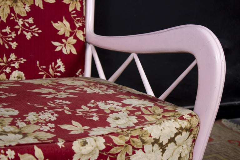 Pair of Pink Italian Midcentury Armchairs Paolo Buffa Style, 1950s For Sale 6