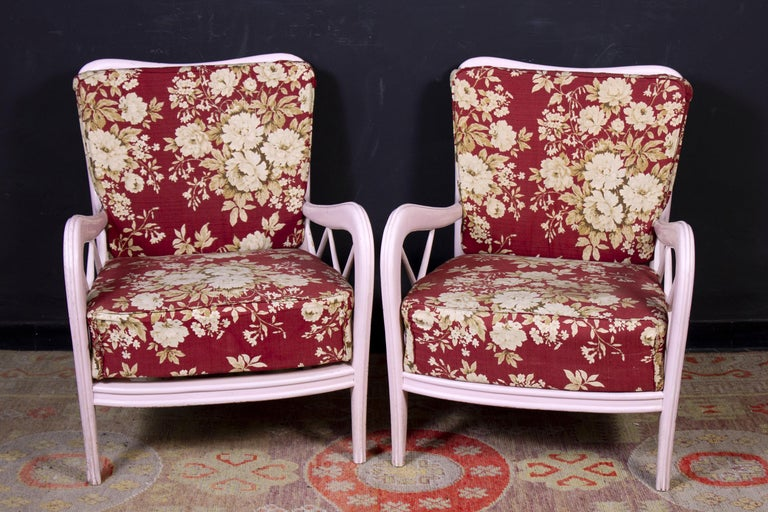 Delicious set of pink painted wood frames lounge chairs or armchairs with deep seat. Upholstered with flower design in a very good vintage condition.
