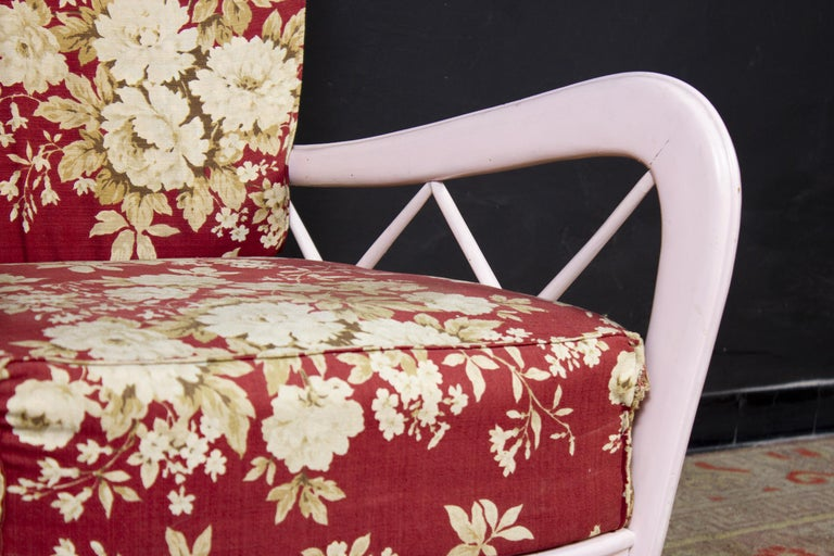 Mid-Century Modern Pair of Pink Italian Midcentury Armchairs Paolo Buffa Style, 1950s For Sale