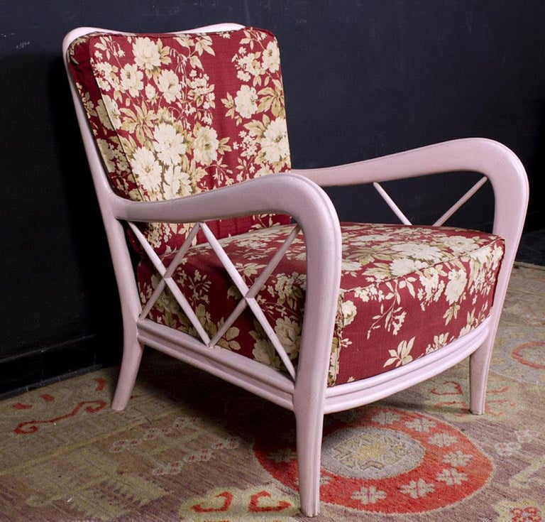 Pair of Pink Italian Midcentury Armchairs Paolo Buffa Style, 1950s In Good Condition For Sale In Rome, IT