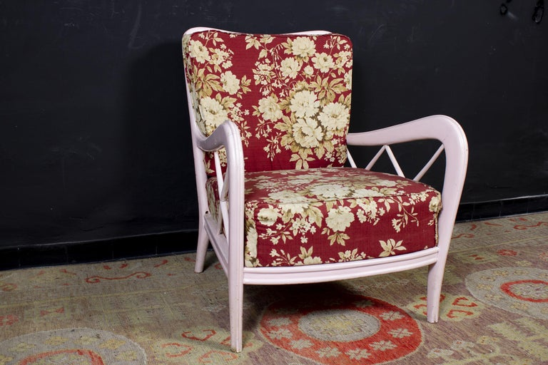 20th Century Pair of Pink Italian Midcentury Armchairs Paolo Buffa Style, 1950s For Sale