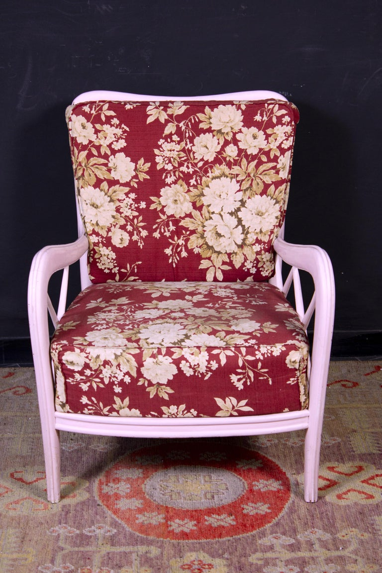 Pair of Pink Italian Midcentury Armchairs Paolo Buffa Style, 1950s For Sale 2