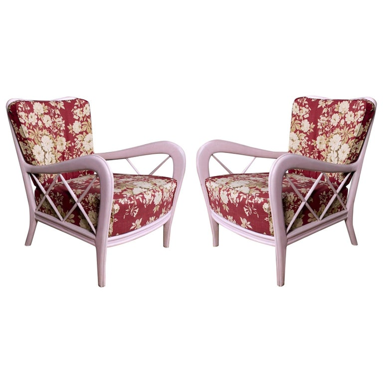 Pair of Pink Italian Midcentury Armchairs Paolo Buffa Style, 1950s For Sale