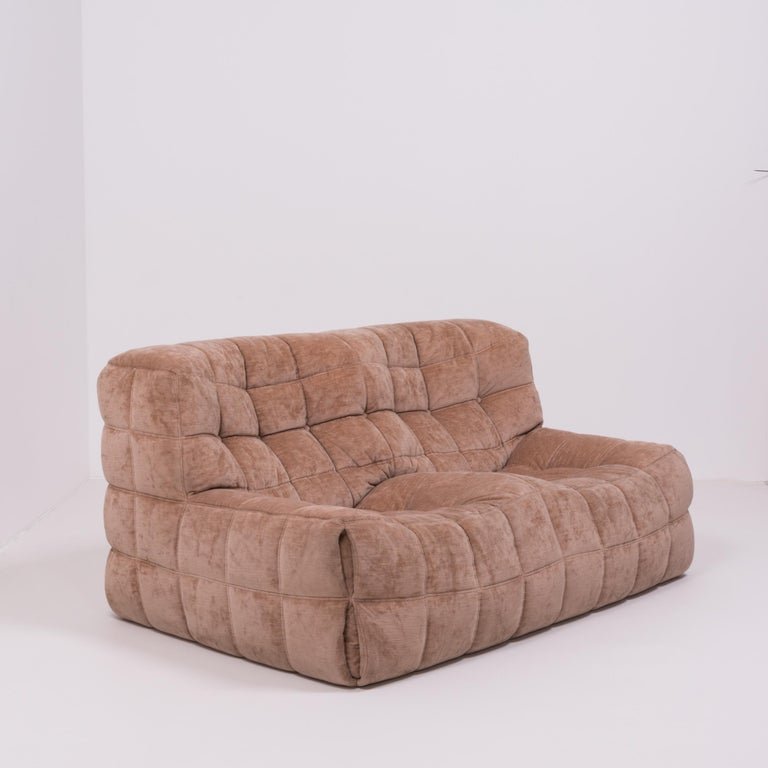 Pair of Pink Kashima 2-Seat Sofas by Michel Ducaroy for Ligne Roset In Good Condition For Sale In London, GB
