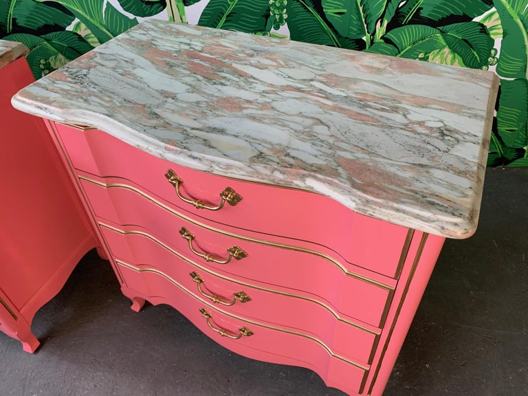 Hollywood Regency Pair of Pink Lacquered Marble-Top French Provincial Dressers by John Widdicomb For Sale