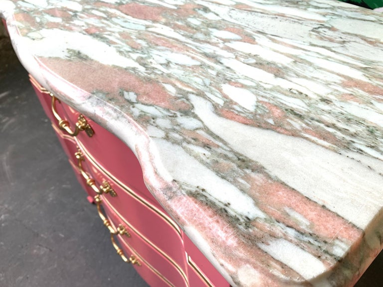 Brass Pair of Pink Lacquered Marble-Top French Provincial Dressers by John Widdicomb For Sale
