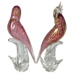 Pair of Pink Murano Glass Birds Signed S. Frattin
