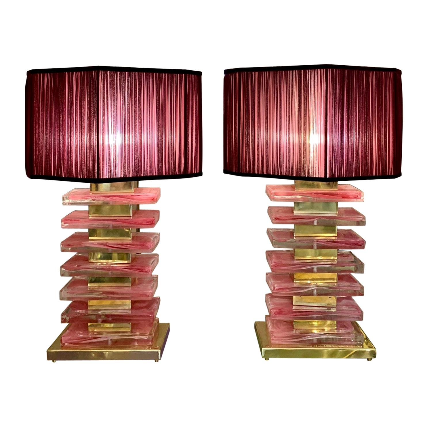 Pair of Pink Murano Glass Blocks Lamps and Our Handcrafted Lampshades, 1970s