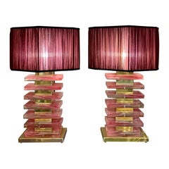 Pair of Pink Murano Glass Blocks Table Lamps and Our Handcrafted Lampshades