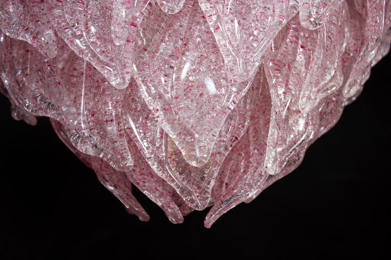 Pair of Pink Murano Glass Polar Chandelier, Italy, 1970s For Sale 4