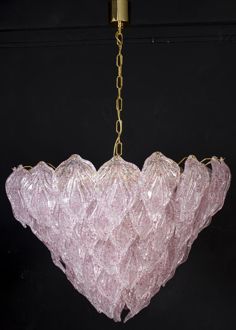 Pair of Pink Murano Glass Polar Chandelier, Italy, 1970s For Sale 5