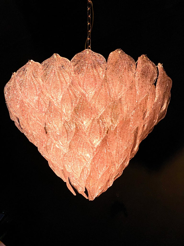Pair of Pink Murano Glass Polar Chandelier, Italy, 1970s For Sale 7