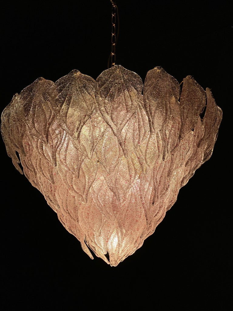 Pair of Pink Murano Glass Polar Chandelier, Italy, 1970s For Sale 11