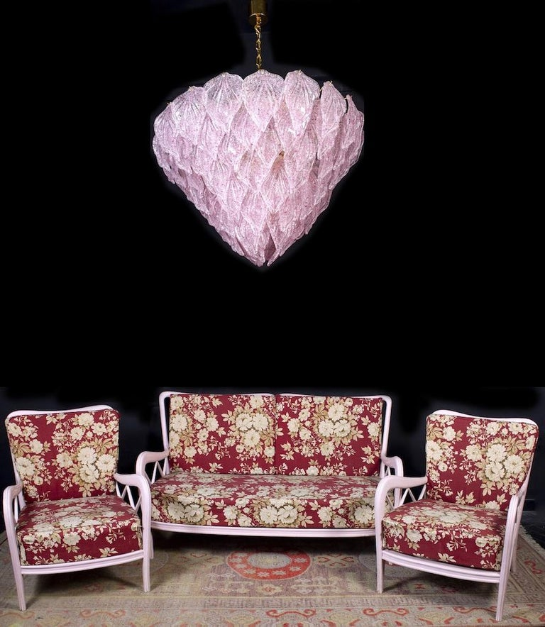 Pair of Pink Murano Glass Polar Chandelier, Italy, 1970s For Sale 12