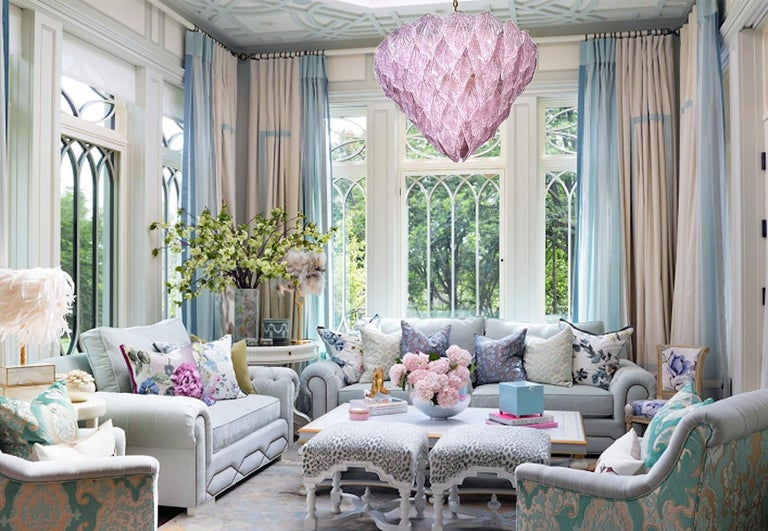 Murano polar pink chandelier, each with 88 precious hand blown glass leaves hanging on the brass frame. Spectacular light effect. Available also a pair and four pair of sconces.  Measures: Height 75 cm, with chain 130 cm Ten E 27 lights bulbs.
