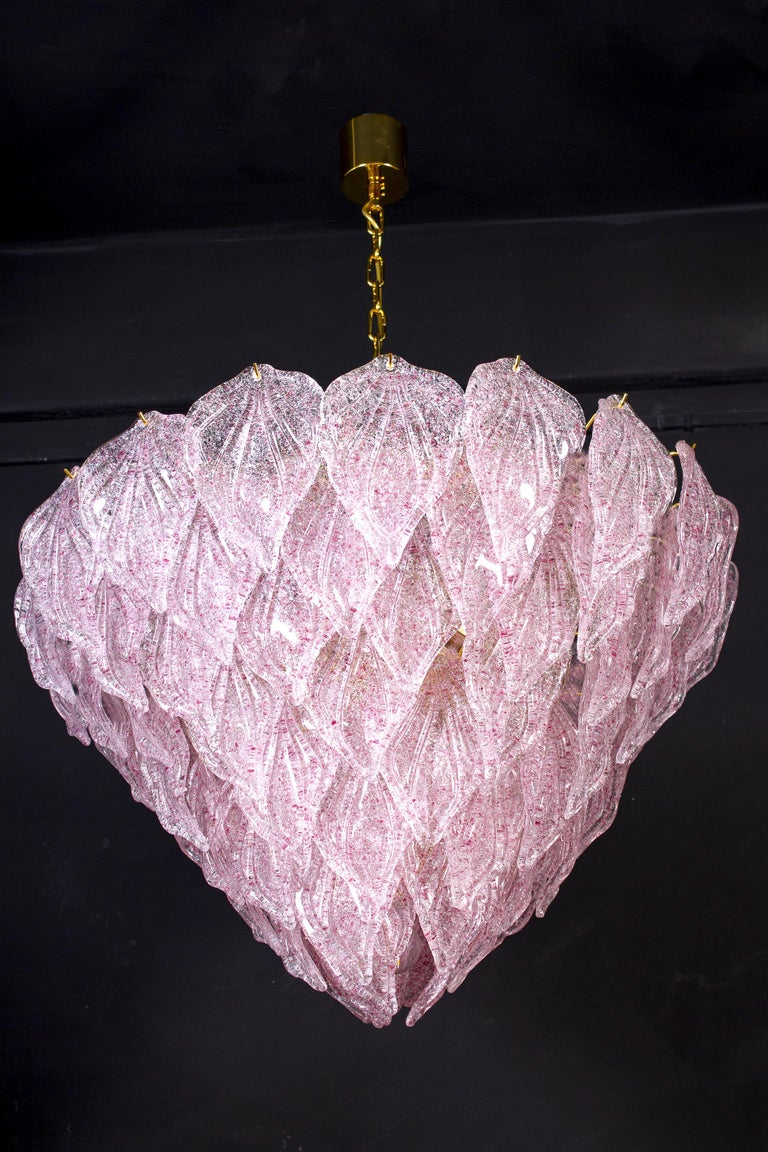 Mid-Century Modern Pair of Pink Murano Glass Polar Chandelier, Italy, 1970s For Sale