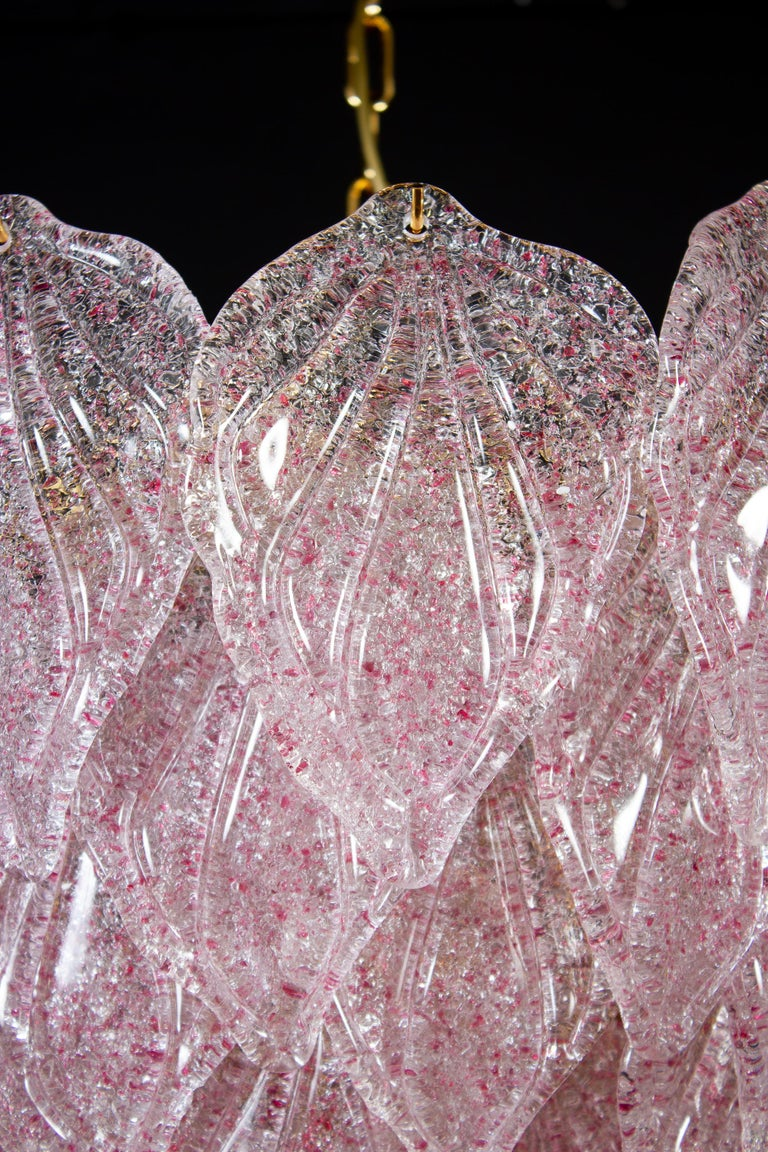 Pair of Pink Murano Glass Polar Chandelier, Italy, 1970s In Excellent Condition For Sale In Rome, IT