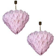 Pair of Pink Murano Glass Polar Chandelier, Italy, 1970s